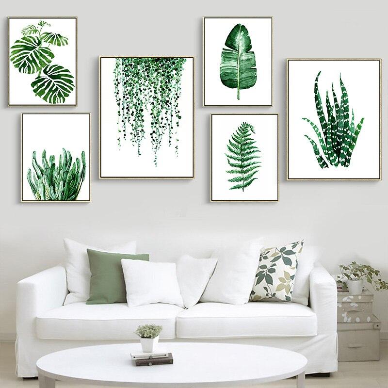 A planta tropical verde moderna deixa o cartaz da cópia da arte da lona, nordic verde planta retratos da parede das crianças sala grande pintura nenhum quadro