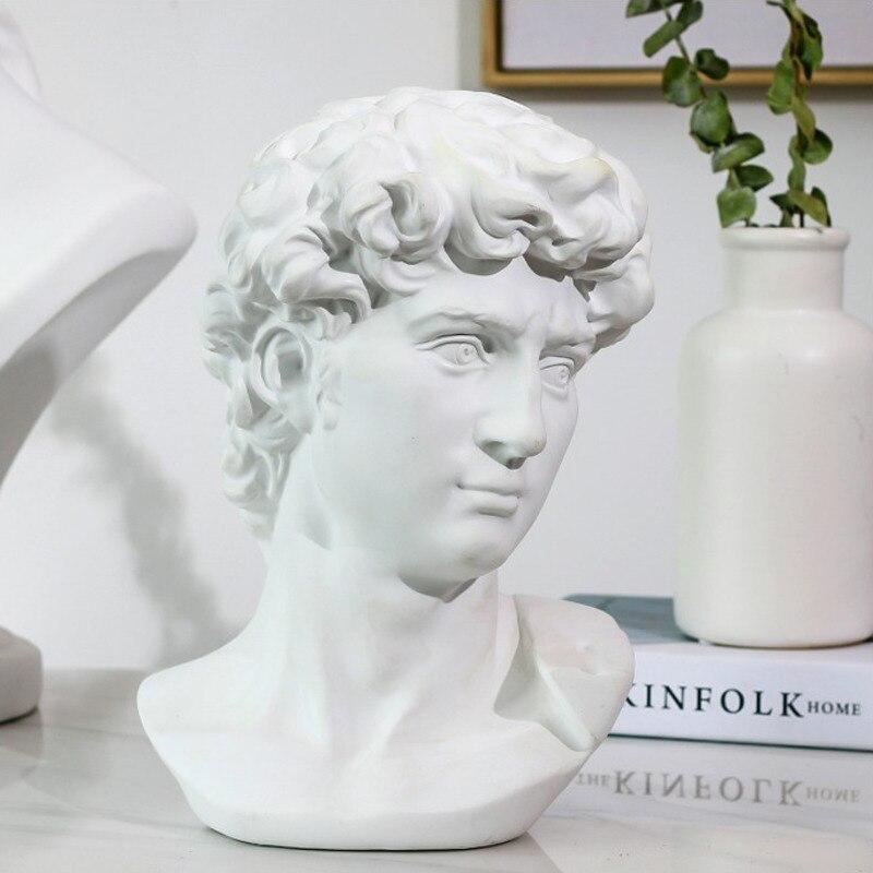 Estatua de David, retratos de cabeza, Mini Gypsum Michelangelo, decoración del hogar, arte de resina, boceto, escultura de decoración de sala de práctica