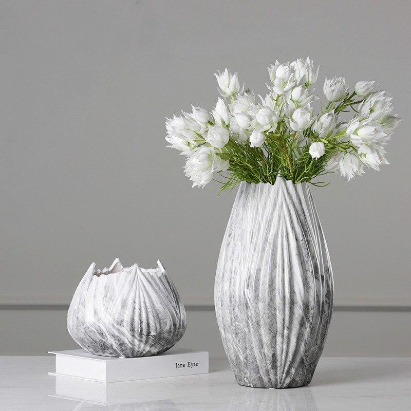 European Gray Marble Pattern Ceramic Vase Creative Fangs Bottle Simple Home Hotel Soft Decoration