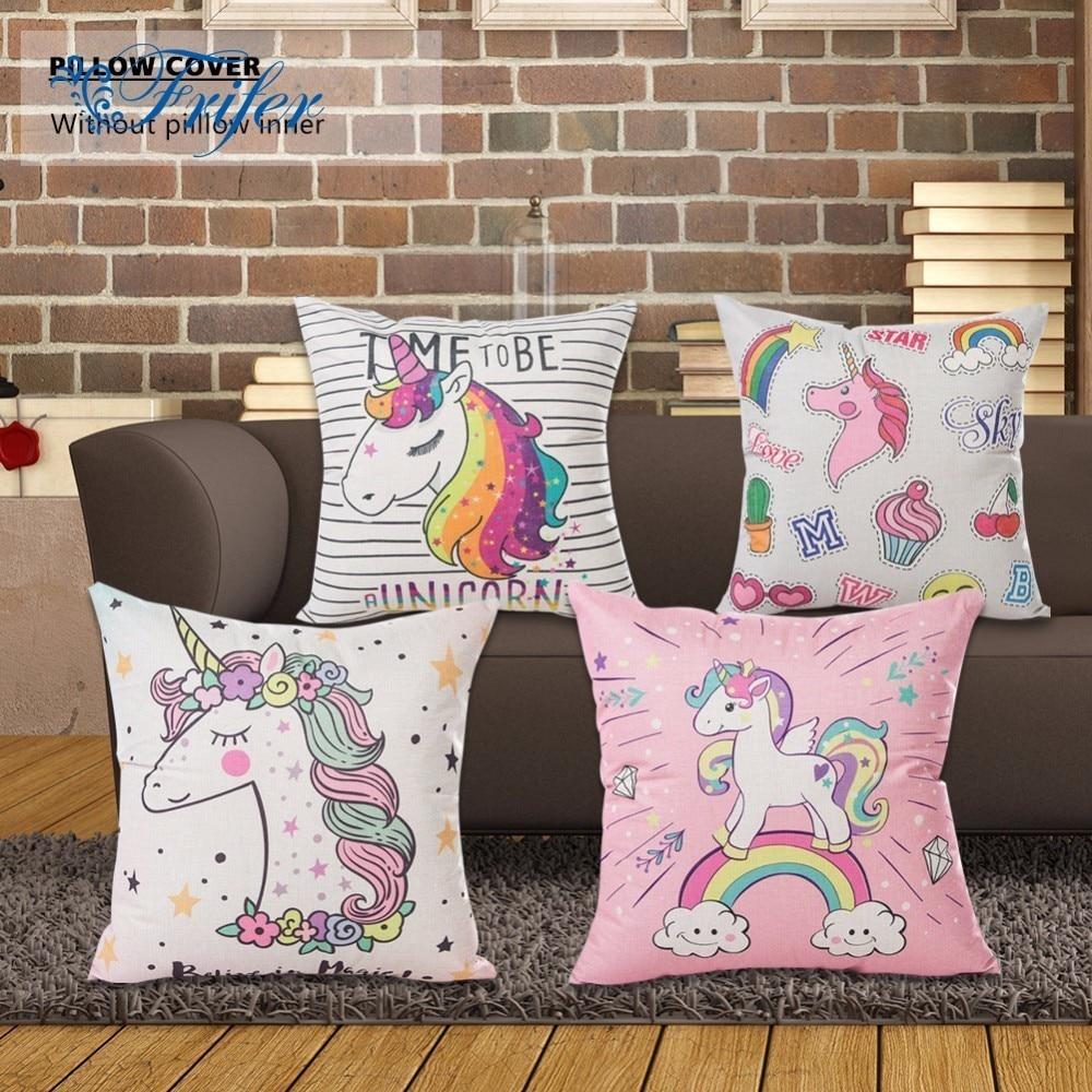 Funda de cojín estampada dibujo de unicornio Rosa verde púrpura negro funda de almohada decorativa funda de almohada sofá Golden fundas de almohada