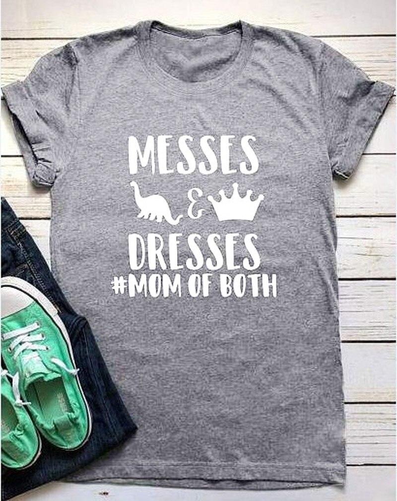 Messes & Dresses Mom of Both Unisex Tee Mom Tee Motherhood T Shirt funny Dinosaur crown graphic fashion cotton casual t-shirt