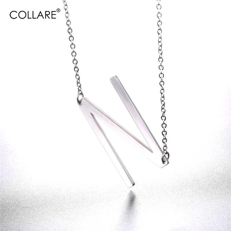 Collar gargantilla collar oro/negro Acero inoxidable joyería inicial del alfabeto letra N colgante collar de declaración mujeres N016