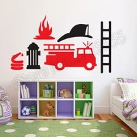 cartoon fire truck engine car vinyl wall decal removable cartoon stickers for boys room special design home decoration diyzw308