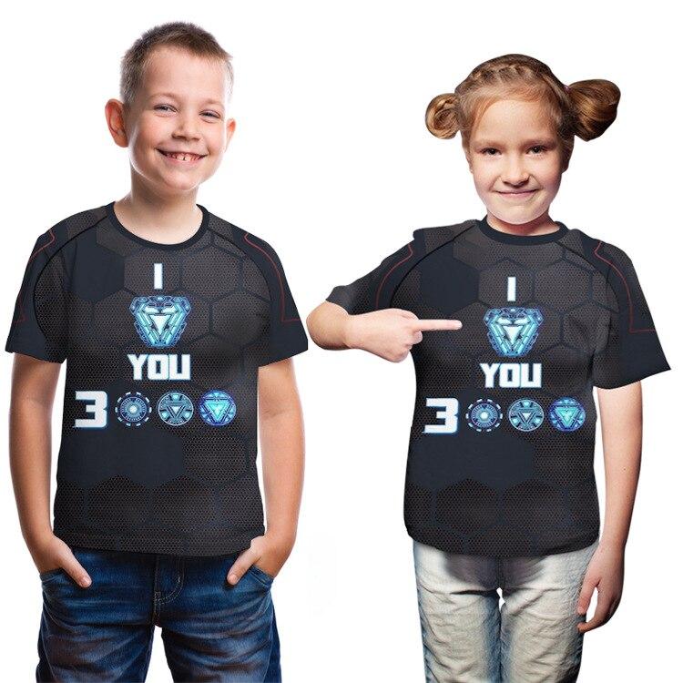 Camiseta de manga corta Unisex para niños y niñas, camiseta informal para chico, vengadores 4 Iron Man Love You 3000