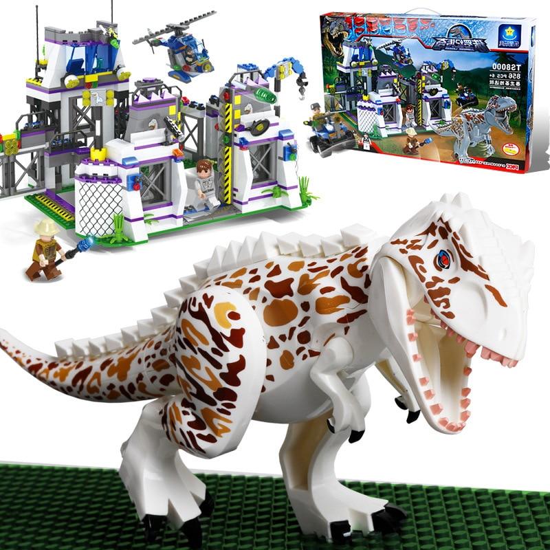 Nuevo Mundo Jurásico dinosaurios emboscado laboratorio Instituto Fit Legoings Jurásico dinosaurio ciudad figuras construcción bloques Diy chico regalo