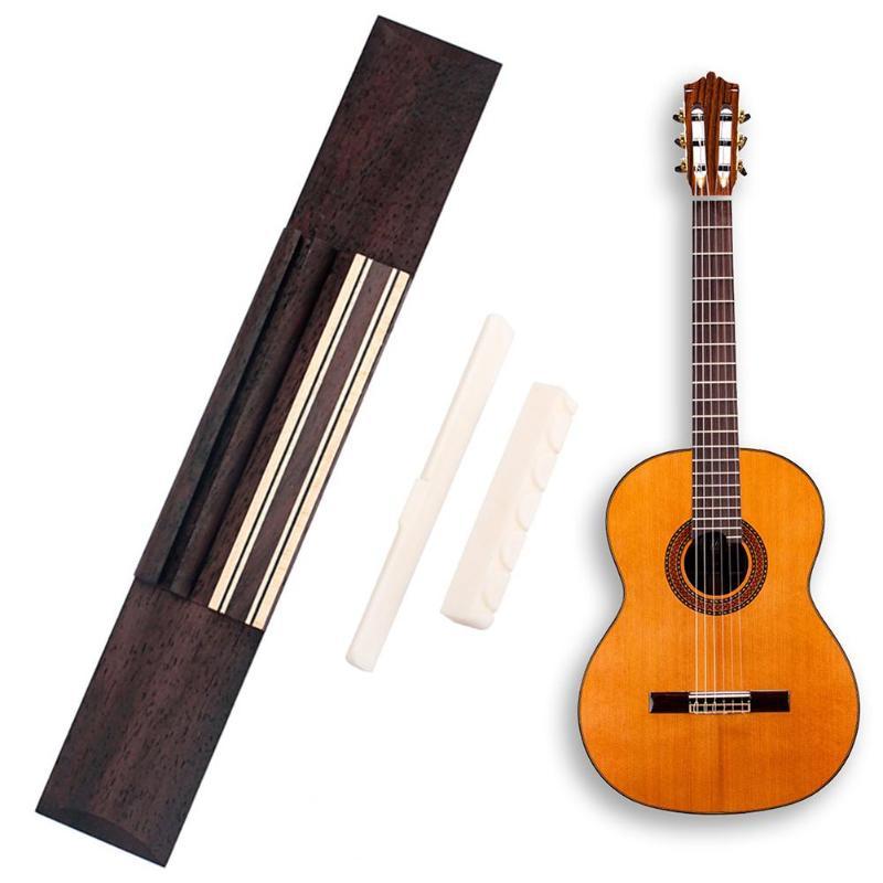 KOKO puente de guitarra de palisandro + tuerca de guitarra de hueso de ganado + montura de guitarra de hueso de ganado para accesorios de guitarra clásica