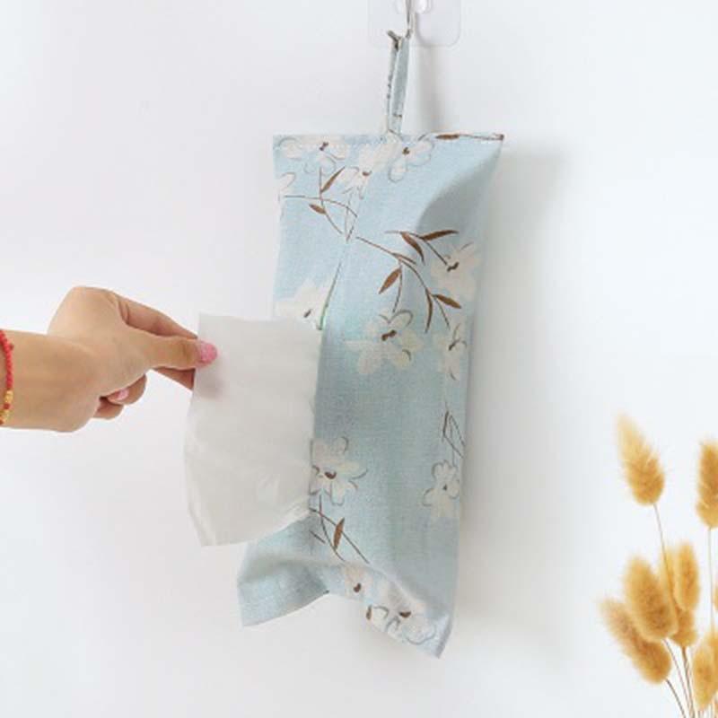 Sacos De Armazenamento Saco de Armazenamento De Tecido Caixa de Tecido Guardanapo Floral para Sala de estar Pendurar sacos Saco de Caixa de Tecido Suporte de Papel Higiênico Do Banheiro 1 pc