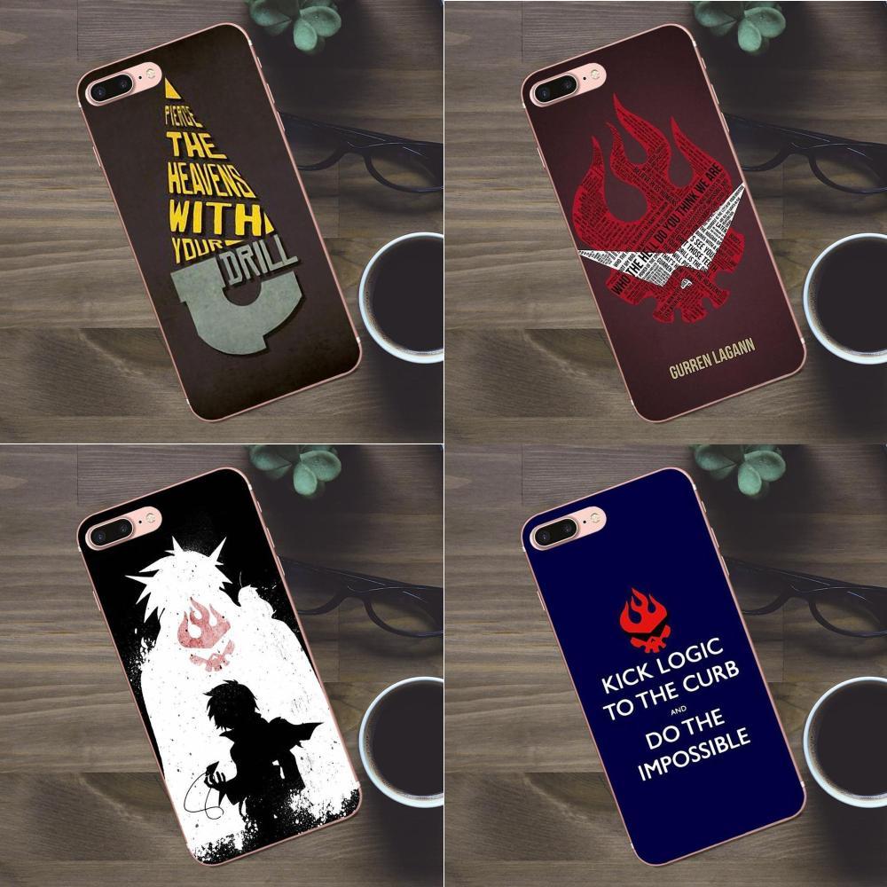 Bixedx para Apple iPhone 4 4S 5 5C SE 6 6 S 7 8 Plus X Galaxy A3 A5 J1 j2 J3 J5 J7 2017 suave Capa Gurren Lagann tipografía negro