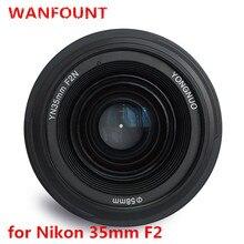 Yongnuo lente fotográfica, lente com 35mm f2.0 af/mf f1.8 af/ef para canon, nikon f suporte d3200 d3400 d3100 d5300 para câmera dlsr