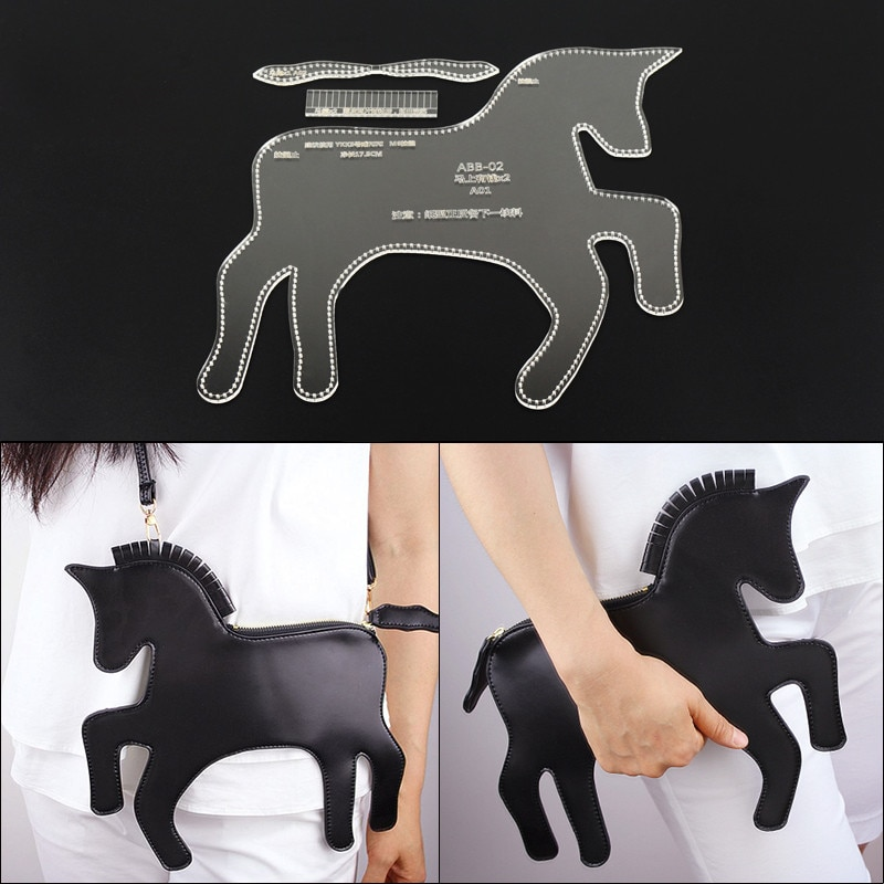1Set Leather Craft Clear Acrylic Clutch Bag Handbag Pattern Stencil Template Tool Set DIY Kit 28*26*1