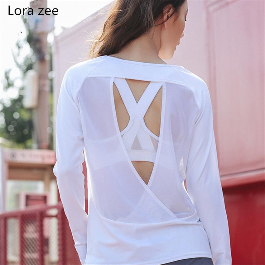 LORA ZEE  Backless Long Sleeve T Shirt Women Loose Fit Cute White Yoga Top Black Fitness Sport Shirt Romantic Gym Top