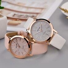 relogio feminino Womens Ladies Simple Watches Geneva Faux Leather Analog Quartz Wrist clock saat ч�