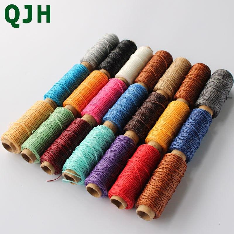 1 мм 150D кожаный вощеный шнур для рукоделия, прочная нить для ручного шитья, 50 метров, плоская Вощеная швейная леска QJH