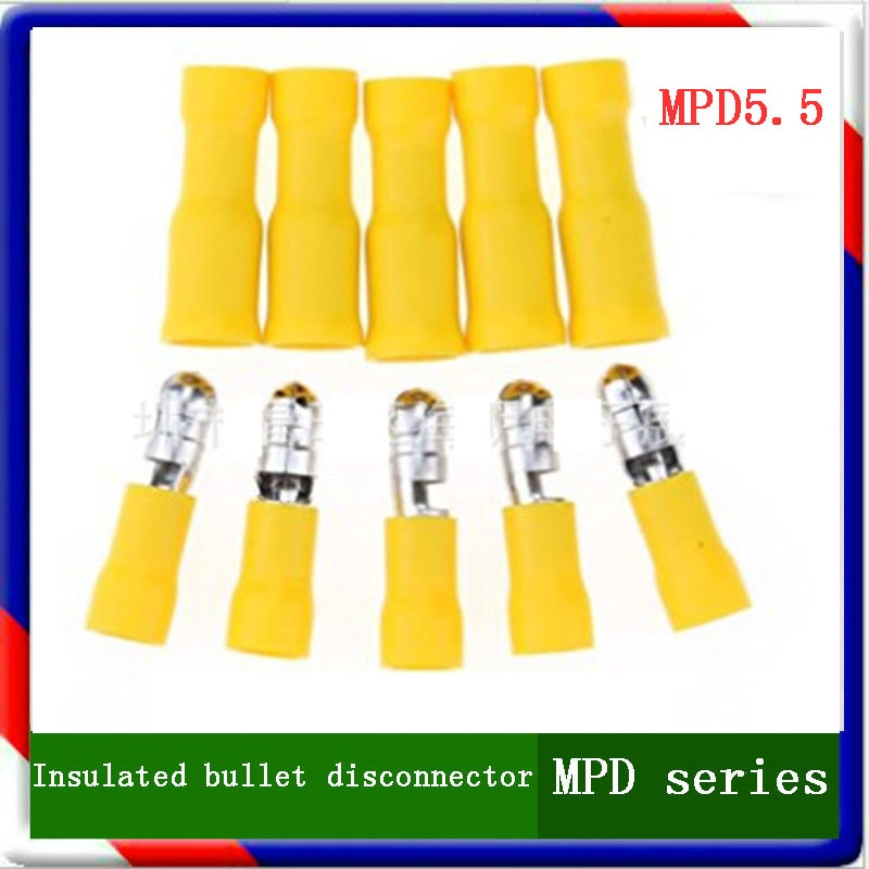 MPD5.5 серия 100 шт/пакет желтая Изолированная пуленепробиваемая клемма Кабельный соединитель провода терминалы предварительно изолирующий р...