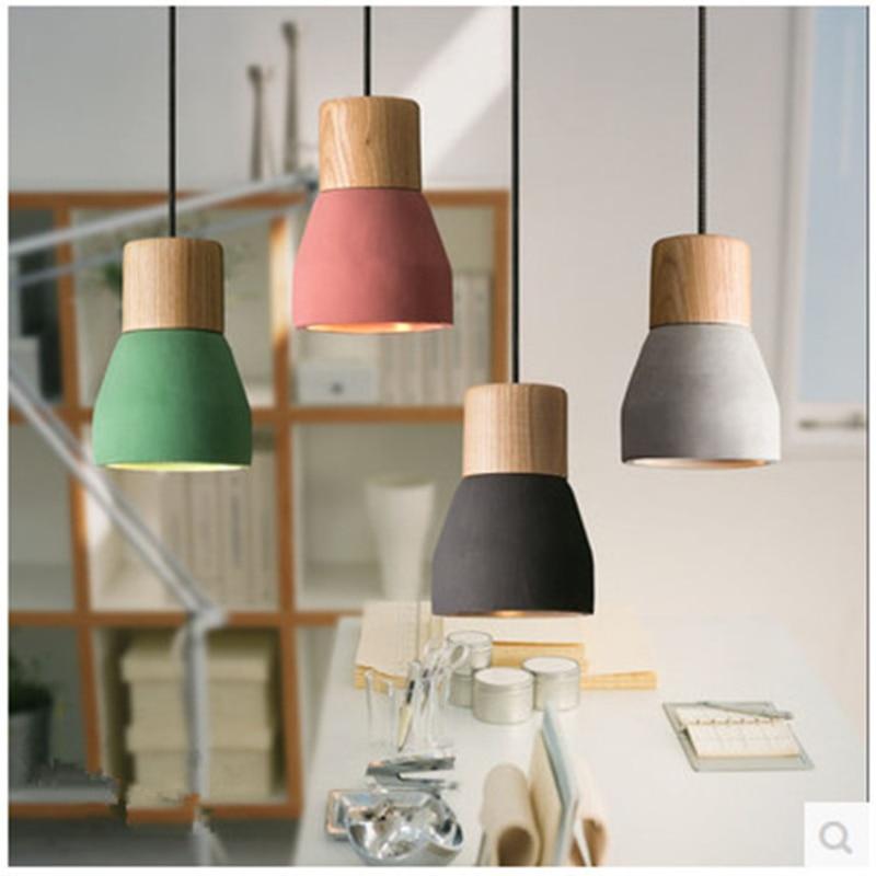 مصباح معلق Led صغير من خشب الأسمنت ، تصميم عتيق ، ريفي ، معكرون ، دور علوي ، ديكور ، إضاءة داخلية ، مثالي للمطعم أو غرفة النوم.