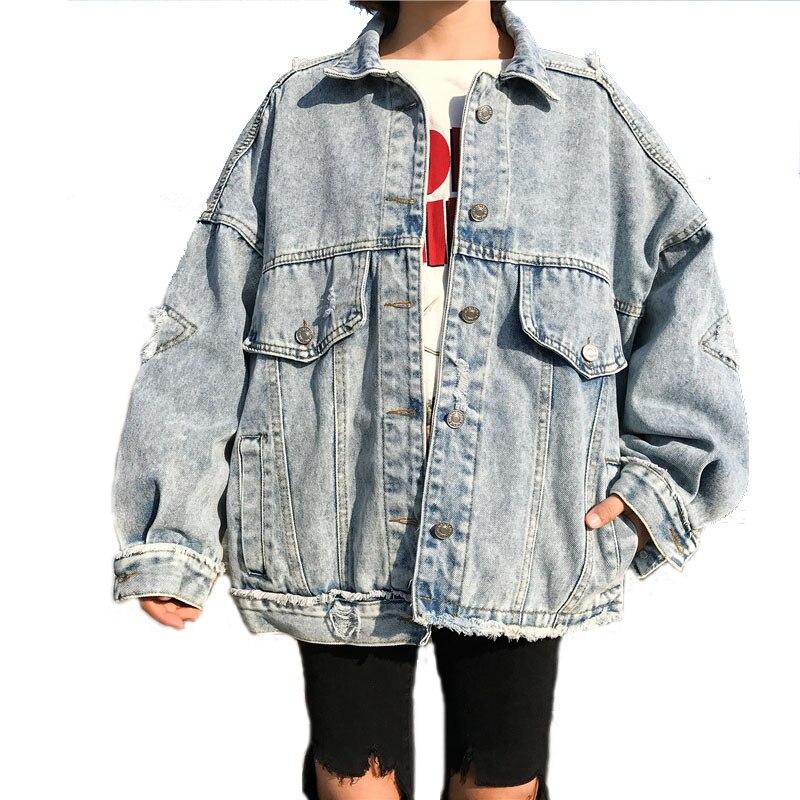 2018 Soltar bomba Básico Brasão Moda feminina Casaco de Mulheres Jaqueta Casaco Oversize Grande Bolso Solto Harajuku Do Vintage Jaqueta Demin