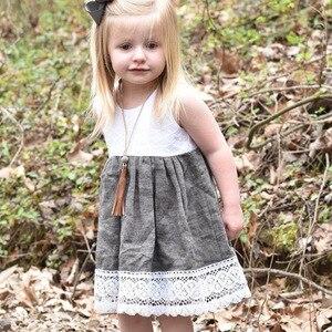 Spliced toddler girls casual summer dress cotton quality elegant girls dress children's clothing