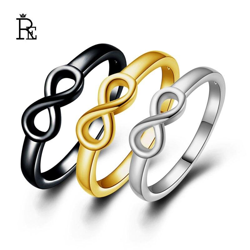 RE Color negro infinito anillo eternidad encantos mejor amigo infinito símbolo de amor anillos de moda para las mujeres J30