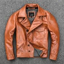 Gratis verzending. merk ONS olie wax koeienhuid biker jas, mens slim lederen Jas, vintage casual stijl jas, fashion sales
