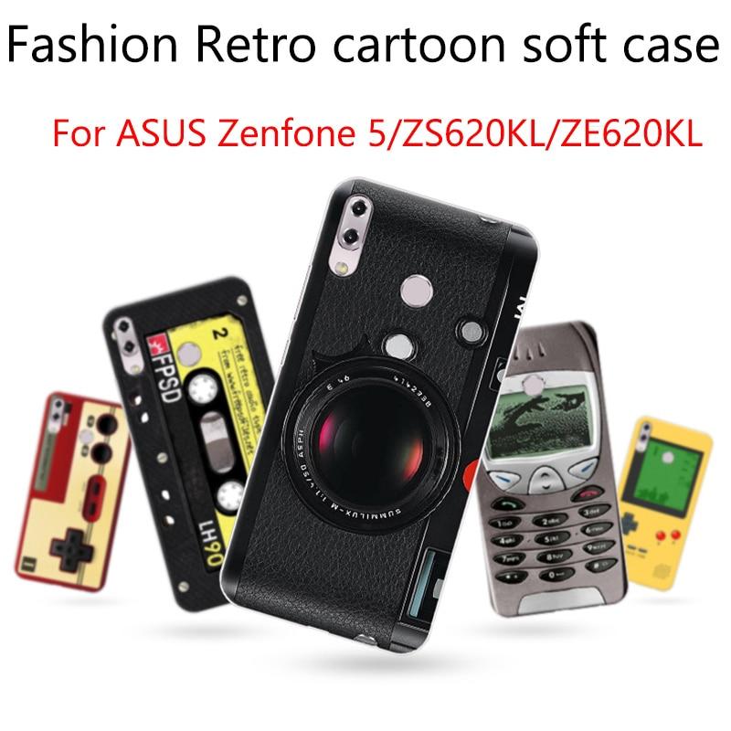 Para asus zenfone 5/5z 2018 caso capa retro dos desenhos animados casos macios para asus zenfone5/zenfone5z/zs620kl/ze620kl capa escudo fundas