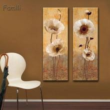 Peinture à lhuile sur toile avec fleurs, tableau mural moderne sans cadre, pour décoration de maison, 2 pièces/ensemble