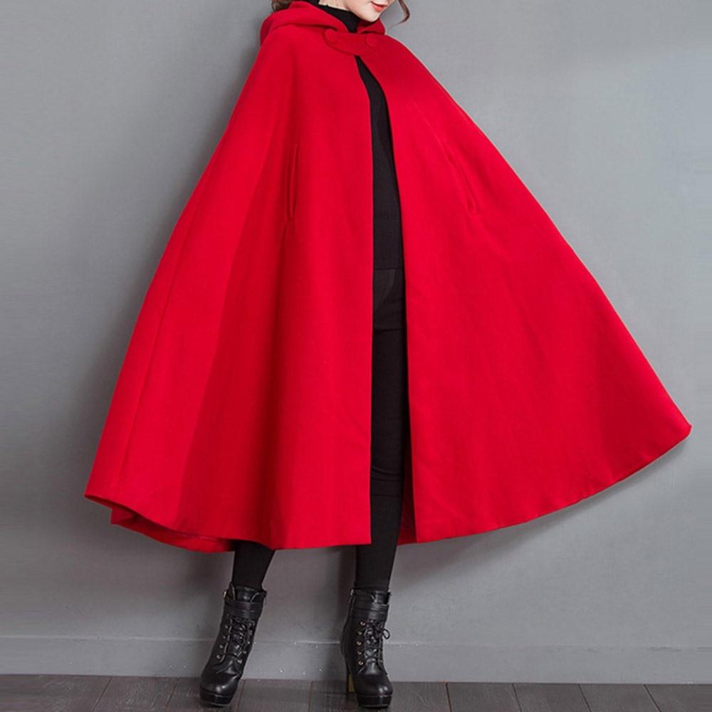 Rosetic mujeres rojo capa Poncho mujeres invierno abrigo nueva moda con capucha Collar de lana abrigo mujer otoño Poncho suelto Mujer