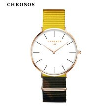 Women Men Unisex Nylon Watch Fashion Couple Lover Wrist Watches Minimalist Ultra Thin Two-Hand Analog Clock Timepiece White Face