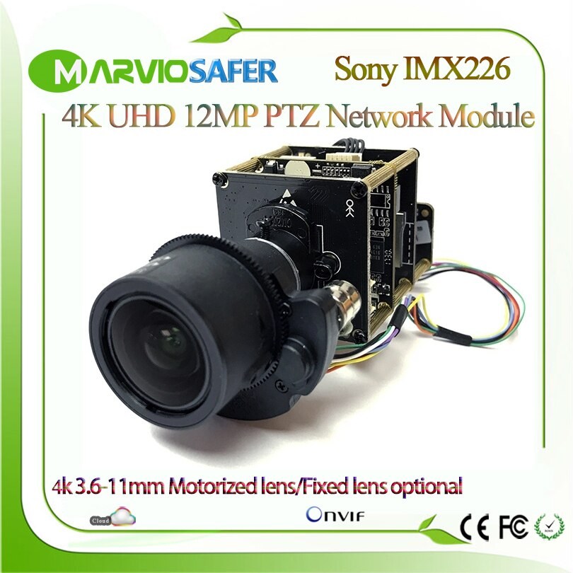 UHD 12MP 4K Starlight IP PTZ Network Camera Module Sony IMX226 Sensor Onvif H.265 H.264 RS485 3X 3.6-11mm Zoom Lens RTSP