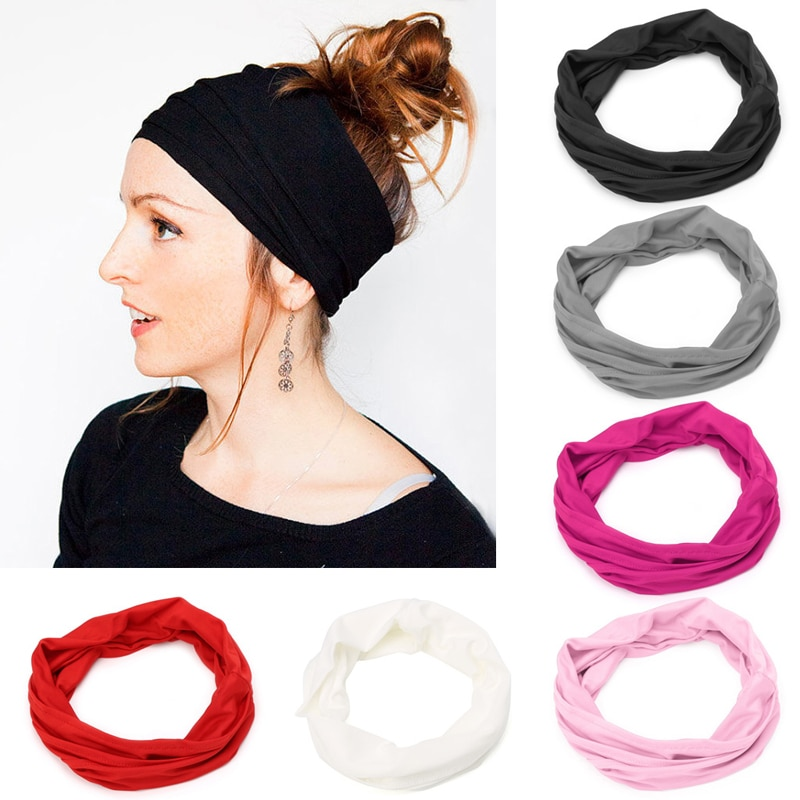 Suave cinta de Yoga para mujer, banda elástica Hea, banda para el cabello, banda para el cabello para correr, banda para el cabello, envoltura cabeza diadema ancha turbante