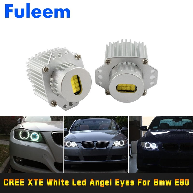 Fuleem 2 шт. 80 Вт белый 6000 К LED Angel Eye Halo Ring Marker Light Bulb Canbus Error free для E90 E91