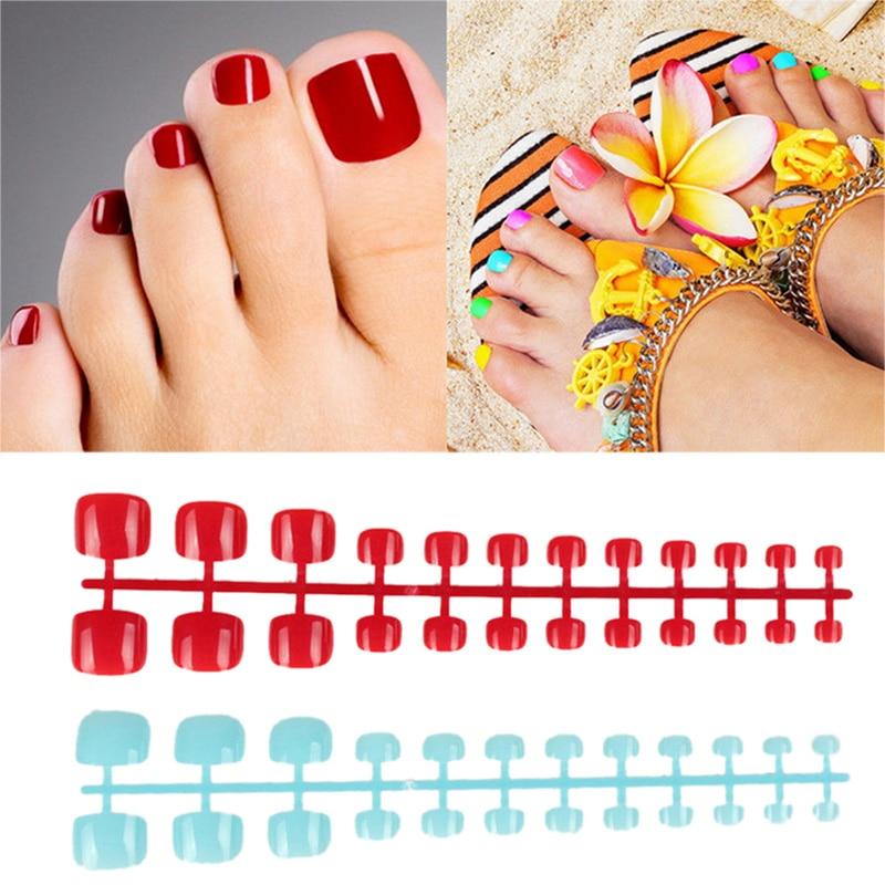 24 Uds uñas postizas para los pies uñas artificiales de caramelo polvo de gamba Adhesivo acrílico Natural francés uñas falsas para dedos del pie consejos arte Decoración