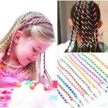 6 adet/grup Gökkuşağı Renk Kafa Bandı saç bandı Kristal Uzun Elastik saç bandı s Şapkalar Sevimli Kız Rastgele Renk saç aksesuarları