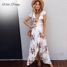 WildPinky 2020 blanc femmes imprimé fleuri robe de plage mode Boho robes dété dames Vintage col en v fendu robe de soirée Vestidos
