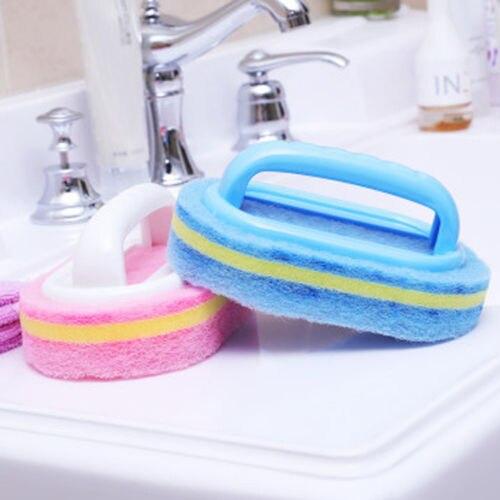Suelo de baño cocina esponja inferior bañera azulejo de pared azul de limpieza cepillo con asas diseño de arco limpiador grueso y sólido