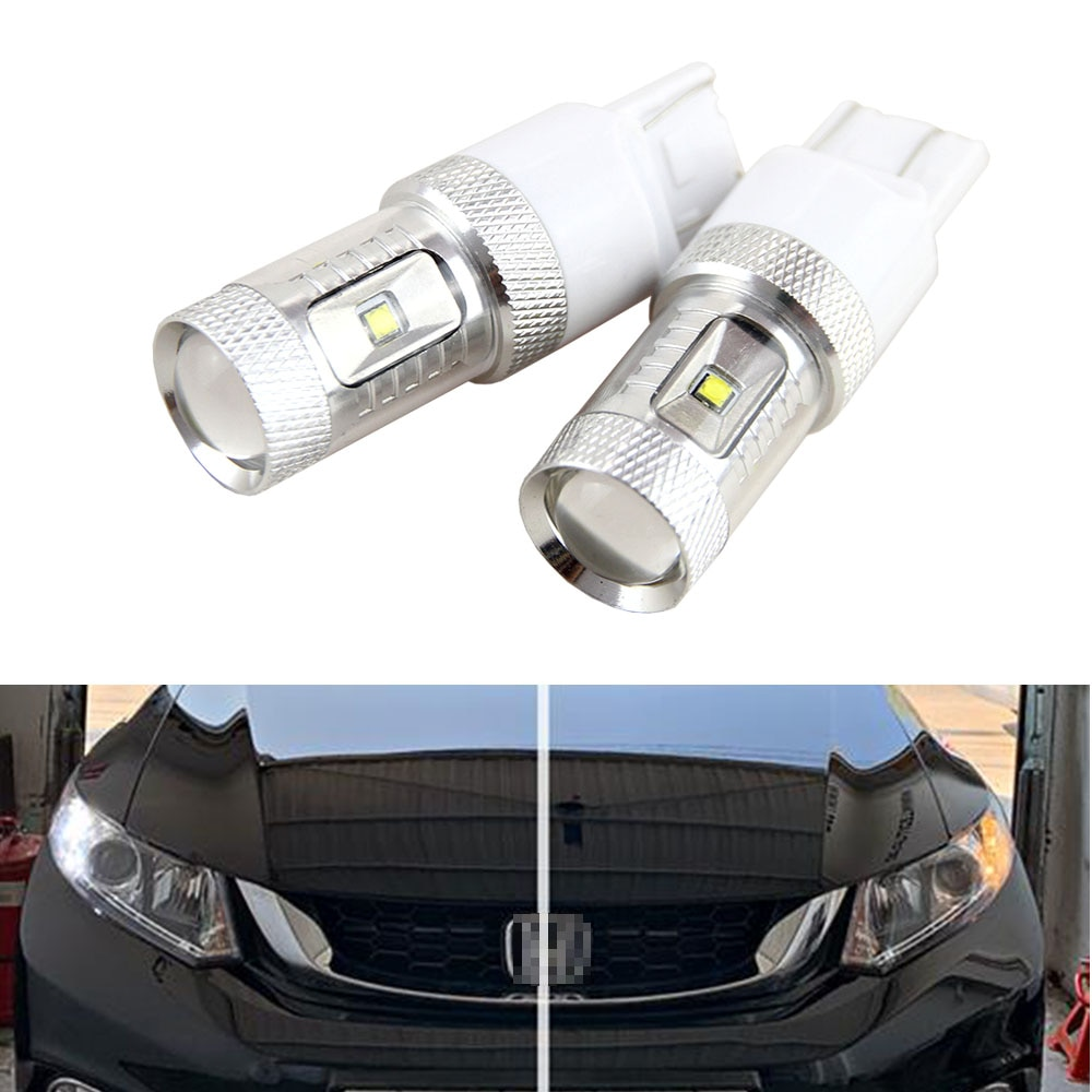 2 pces 30w led w21/5w t20 7443 canbus nenhum erro led drl para honda civic 9th. Gen. sedan (2015)
