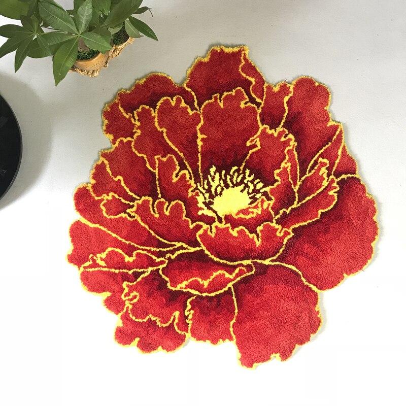 سجادة زهرة الفاوانيا الحمراء ، سميكة ، مستديرة ، لغرفة النوم ، غرفة المعيشة ، غير قابلة للانزلاق ، الباب ، المدخل ، اللون الوردي
