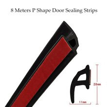 8 Meters P Type Car Door Seal Strip Sound Insulation For The Car P Shape 3M Door Sealing Strips Auto Rubber Seals