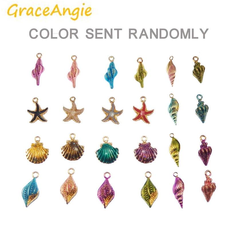 GraceAngie 40 pièces en gros étoile de mer conque coquille de mer forme en alliage de Zinc métal coloré pendentif mélange vente bricolage superbe boucle doreille bracelet