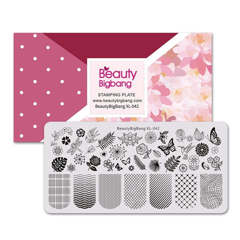 BeautyBigBang 6*12cm Nail Stamping Plates Square Flower Butterfly Grid Image Stamping For Nails Template Nail Art Stamper недорого