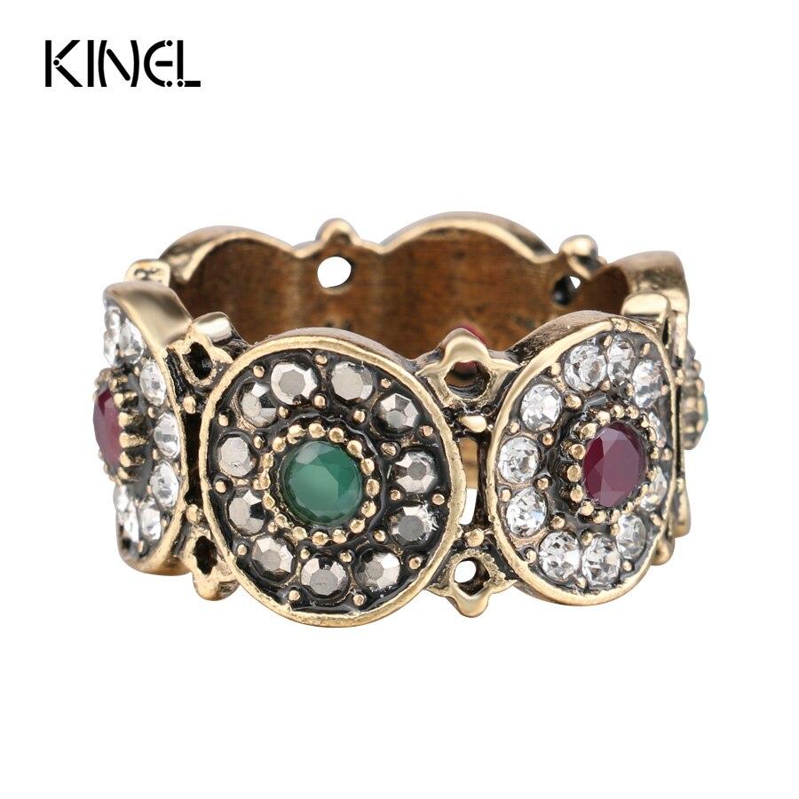 Kinel anéis de casamento para mulheres, anel de casamento oco vintage, jóias de ouro antigo, cor colorida, pedra de resina
