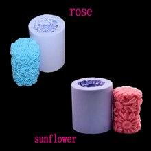 3d silicona vela y jabón de Rosa patrón utensilios de cocina de decoración alimentos para hornear de repostería herramientas