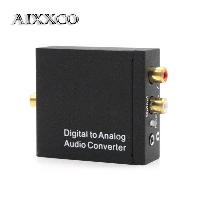 Convertidor de Digital a analógico DAC Digital SPDIF Toslink a Audio estéreo analógico Adaptador convertidor L/R con Cable óptico AIXXCO
