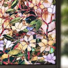 Film de protection solaire antistatique   45/60/90x200 cm, Film de protection solaire, à motif de magnolia vitrail, verre décoratif pour la maison