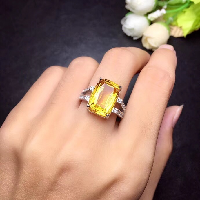 Natural citrine ring, 8 carat gems, beautiful colors, novelty grinding process, 925 silver