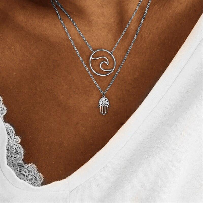 Fnio popular colar palma onda multi-camada colar charme feminino pingente colar 2018 novo