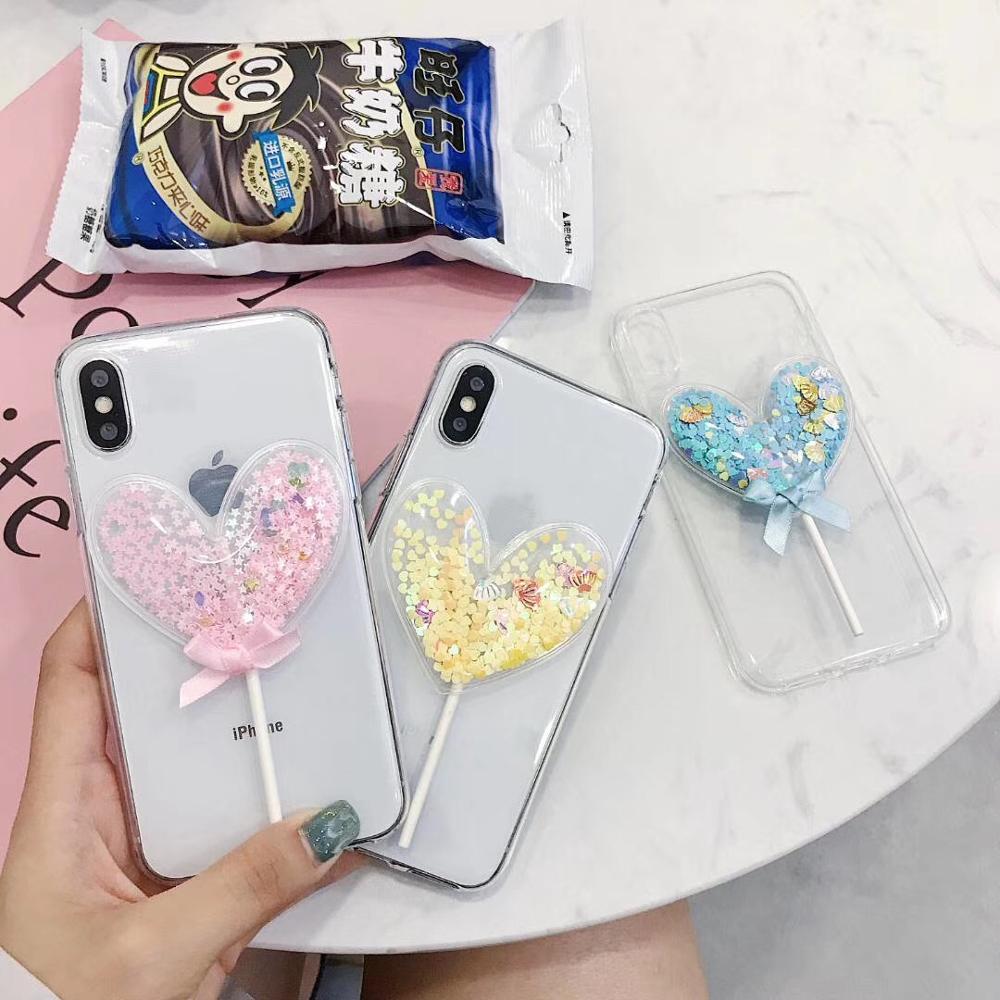 Encantadora 3D Lollipop de dibujos animados de silicona caso de la cubierta del teléfono para Iphone XS MAX XR 8X7 Plus 6 s 6 más de moda de dibujos animados suave casos Coque