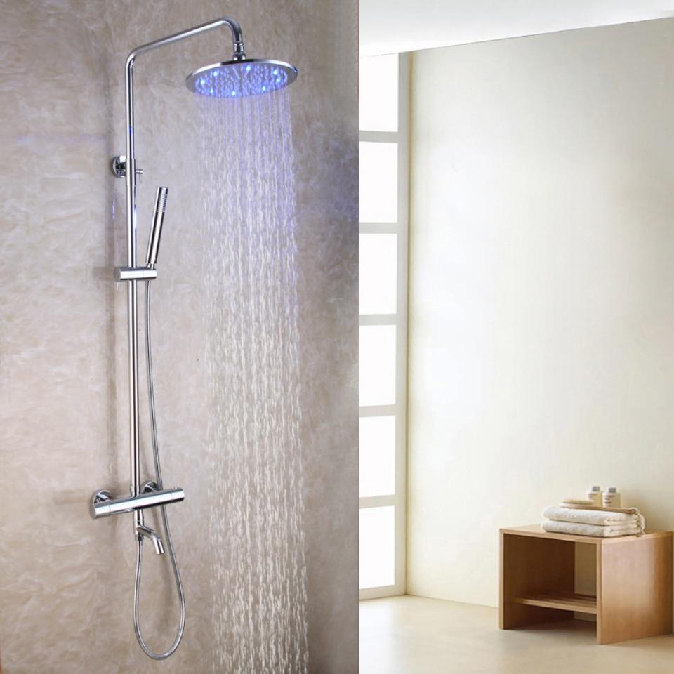 Brass Bath Tub Spout 10 Inch Round Temperature Sensitive LED Shower Head  Thermostatic Exposed Bath Shower Faucet Set