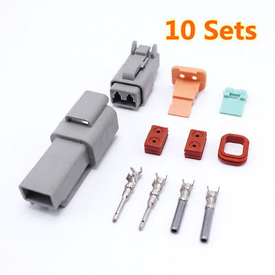 10 unids/lote Deutsch conector Auto impermeable adaptador 2Pin DT06-2S DS04-2P nuevo