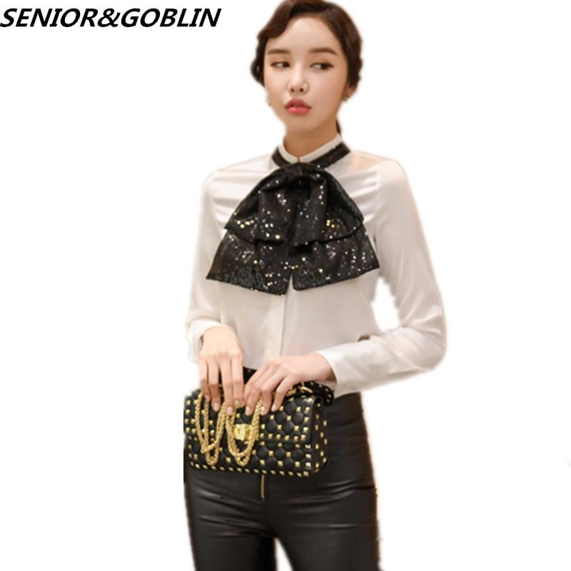 2019 primavera otoño manga larga negro Big Bowknot lentejuelas Blusas Top Elegante mujer moda pasarela blanco Tops y Blusas camisa