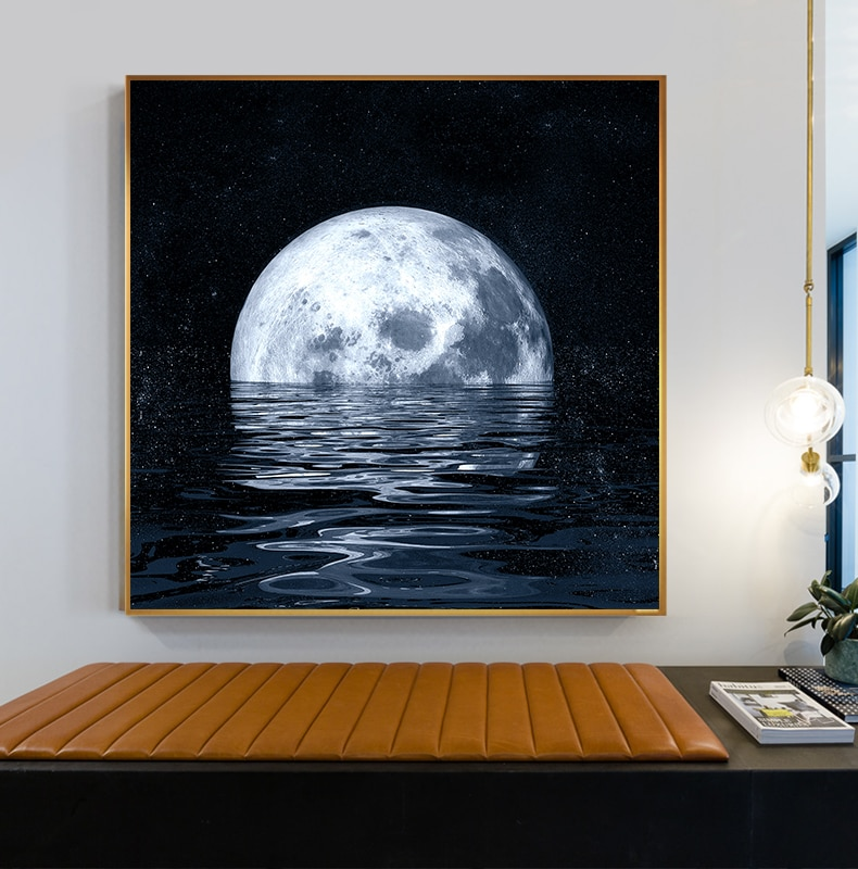 Cartel de la lona espacio Modular Planeta, astronauta Luna pintura decoración de hogar imágenes impresas en HD moderno estilo nórdico Pared de Salón de Arte